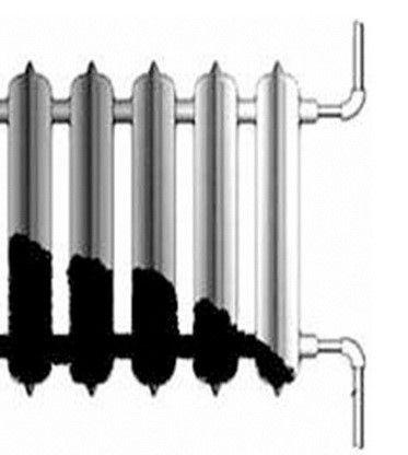 Ucpaný radiátor se nerovnoměrně ohřívá